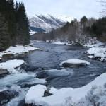 Kvamsfossen med minstevassføring vinter 4m3s. Bilde: Sunnfjord Energi